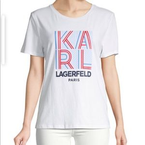 Karl Lagerfeld Paris logo cotton T-shirt Sz XS